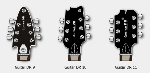 Guitar Headstock Designs, GDR9, 10 and 11
