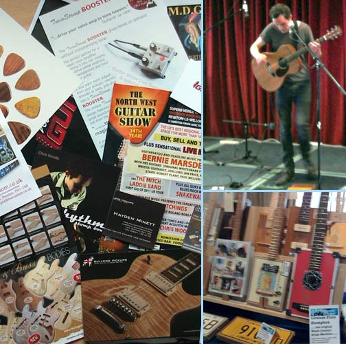 Some show leaflets, Chris Woods and some cigar box guitars
