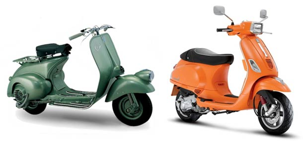 An early Vespa scooter and a current model